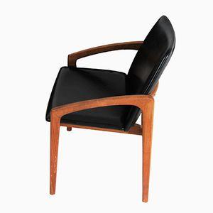 Chaise de Salon en Skaï et en Teck par Kai Kristiansen pour Korup Stolefabrik, Danemark, 1960s