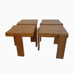 Tavolini a incastro in frassino di Gianfranco Frattini per Cassina, anni '60