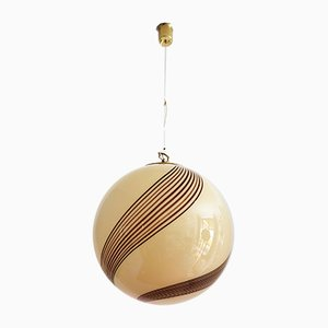 Mid-Century Italian Brass & Murano Glass Spherical Ceiling Lamp, 1960s