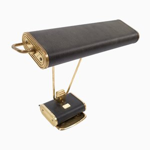 Brass & Black Metal Table Lamp by Eileen Gray for Jumo, 1950s