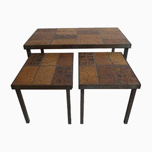 Mid-Century French Ceramic Nesting Tables, 1960s