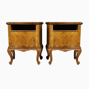 Mid-Century Italian Burl and Walnut Side Tables, 1960s, Set of 2