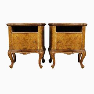 Tables d'Appoint Mid-Century en Broussin et en Noyer, Italie, 1960s, Set de 2