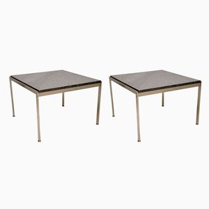Danish Steel and Granite Side Tables, 1980s, Set of 2