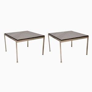Tavolini in acciaio e granito, Danimarca, anni '80, set di 2