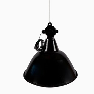 Vintage Industrial German Black Ceiling Lamp, 1930s