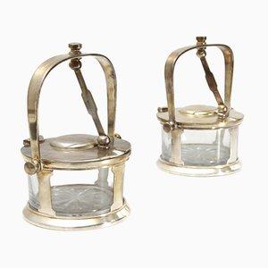 Platos para el queso italianos vintage de plata y vidrio de Fratelli Claderoni, años 30. Juego de 2