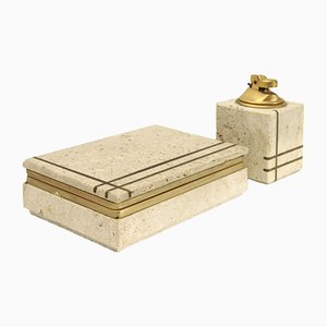 Mid-Century Travertine & Brass Smoking Set by Uliveri for Cerri Nestore, 1960s