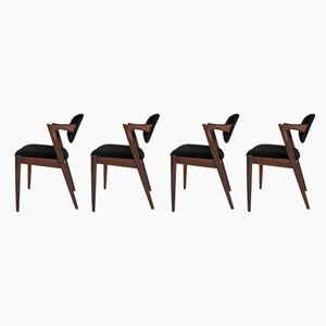 Dänische Esszimmerstühle aus Teak & Samt von Kai Kristiansen für Schou Andersen, 1960er, 4er Set