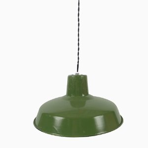 Small Industrial French Green Enamel Ceiling Lamp, 1950s