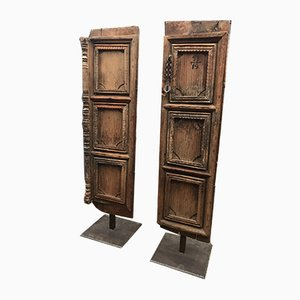 Antique Indian Oak Cupboard Doors, Set of 2