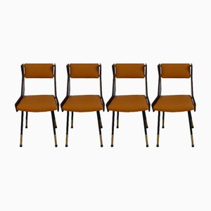 Italian Brass & Leather Dining Chairs by Gianfranco Frattini, 1950s, Set of 4