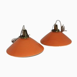 Danish Brass and Ceramic Ceiling Lamps from Søholm, 1950s, Set of 2