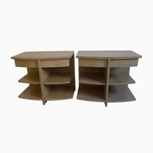 Italian Modern Parchment Side Cabinets, 1980s, Set of 2