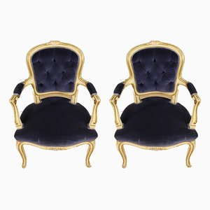 Italian Paint, Wood, and Velvet Armchairs, 1960s, Set of 2