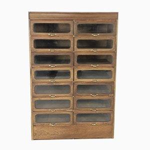 Mueble industrial vintage de vidrio y roble, años 20
