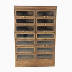 Vintage Industrial Glass & Oak Cabinet, 1920s