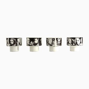 Mid-Century llustrious Men Porcelain Cups by Pietro Annigoni for Porcelain Art Eva South, 1970s, Set of 4