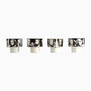 Tasses Illustrious Men en Porcelaine par Pietro Annigoni pour Porcelain Art Eva South, 1970s, Set de 4