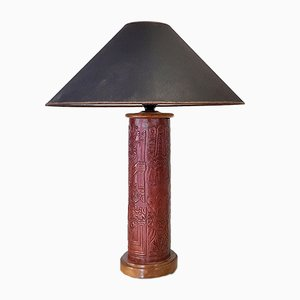 Mid-Century Fabric and Leather Table Lamp, 1960s
