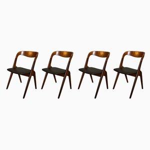 Skandinavische Vintage Sonja Esszimmerstühle aus Teakholz von Johannes Andersen für Vamø, 1950er, 4er Set