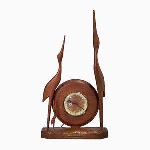 Horloge Mid-Century en Cuivre, Bois et Verre, Allemagne, 1960s