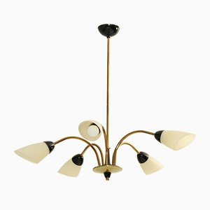 Mid-Century Brass and Metal Chandelier, 1958