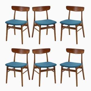 Skandinavische moderne Esszimmerstühle aus Teakholz, 1960er, 6er Set