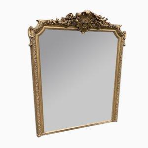 Französischer Spiegel mit Rahmen aus Holz & Gesso, 19. Jh