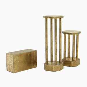 Pedestales vintage de latón de Rodolfo Dubarry. Juego de 3