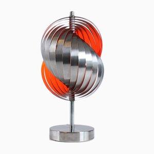Lámpara de mesa en espiral naranja de Henri Mathieu, años 70