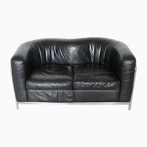 Italienisches Sofa aus Leder & Stahlrohr von De Pas, D'Urbino und Lomazzi für Zanotta, 1980er