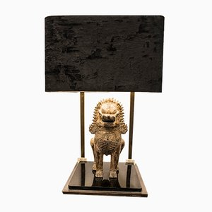 French Brass and Velvet Table Lamp from Maison Jansen, 1970s