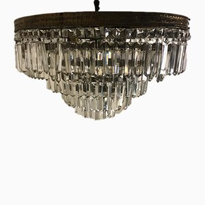 Art Deco Italian Bronze and Lead Crystal Ceiling Lamp, 1930s