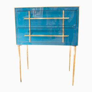Vintage Italian Brass & Murano Glass Dresser, 1970s