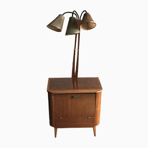 Art Deco Style Walnut Drinks Cabinet with Lamp, 1950s