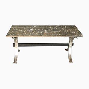 Tavolino da caffè Mid-Century in marmo e metallo cromato, anni '50