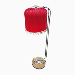 Mid-Century Chrome Plated Floor Lamp with Red Shade, 1960s