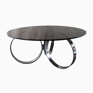 Italian Chrome & Smoked Glass Coffee Table, 1970s
