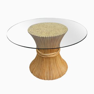 Vintage Glass and Rattan Dining Table, 1970s