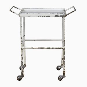 Mid-Century Industrial Glass and Iron Trolley, 1950s