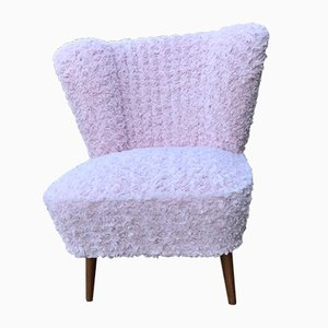 Cocktail Chair in Pink Faux Fur, 1950s