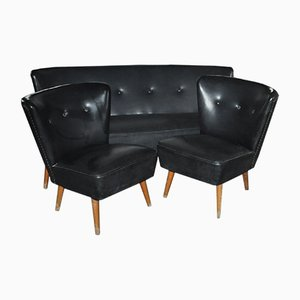 Set of 2 Hungarian Skai Chairs & Sofa, 1960s