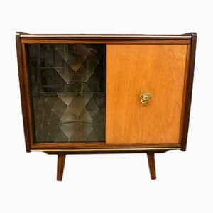 Mid-Century Glass and Wood Commode, 1960s