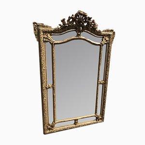 Französischer Spiegel mit Rahmen aus geschnitztem Holz & Gesso, 19. Jh