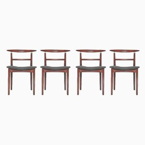 Danish Fabric and Rosewood Dining Chairs by Helge Sibast for Sibast, 1962, Set of 4