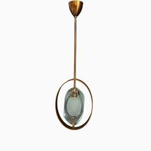 Lámpara de techo italiana de latón y cristal tallado de Max Ingrand para Fontana Arte, años 60