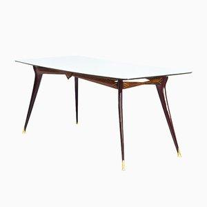 Mesa de comedor italiana Mid-Century de madera, latón y vidrio, años 60