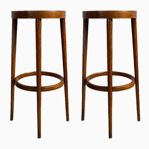 Vintage Beech and Bentwood Bar Stools, 1970s, Set of 2