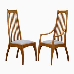 Art Nouveau Elm Dining Chairs from Cy Woodrow, 1991, Set of 8